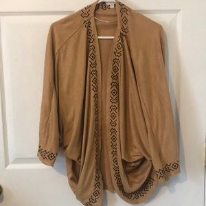 Sweaters - Suede Cardigan with Aztec design